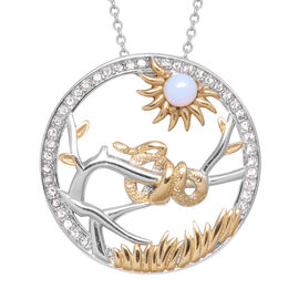 Opalite and White Austrian Crystal Snake  Pendant with Chain (Size 24) in Gold Tone and Plain Stainl