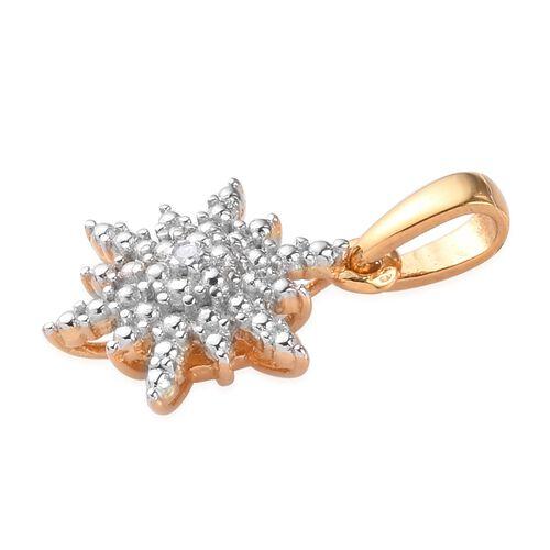Diamond Starbust Pendant in 14K Gold Overlay Sterling Silver