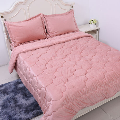 Serenity Night - 4 Piece Sherpa Comforter Set - Dusky Pink Comforter (220x225cm), Fitted Sheet (140x190+30cm) and Pillow Covers (2 Pcs - 50x70+5cm) - DOUBLE