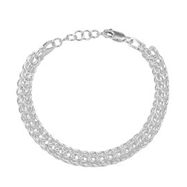 Circular Link Chain Bracelet in Sterling Silver 15.96 Grams Size 7 Inch