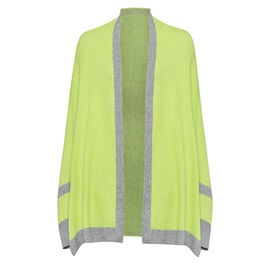 Kris Ana Coloured Border Cardigan One Size (8-20); L=70 Cm - Lime and Grey