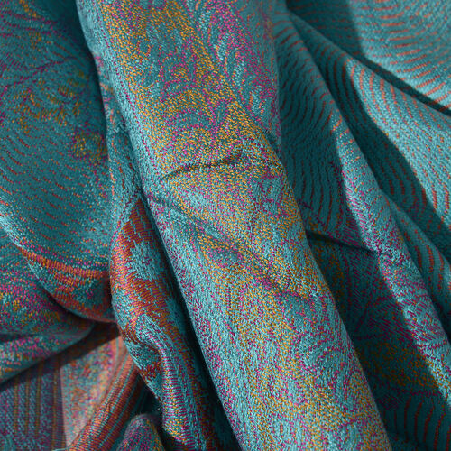 SILK MARK - 100% Superfine Silk Turquoise, Light Green and Multi Colour Flower Pattern Jacquard Jamawar Scarf with Tassels (Size 180x70 Cm) (Weight 125 - 140 Gms)
