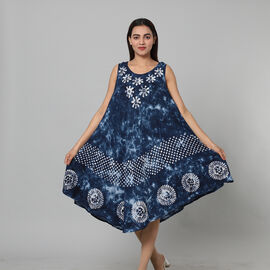 Tie & Dye Royal Blue Umbrella Dress in Dots Print (Size upto 20)