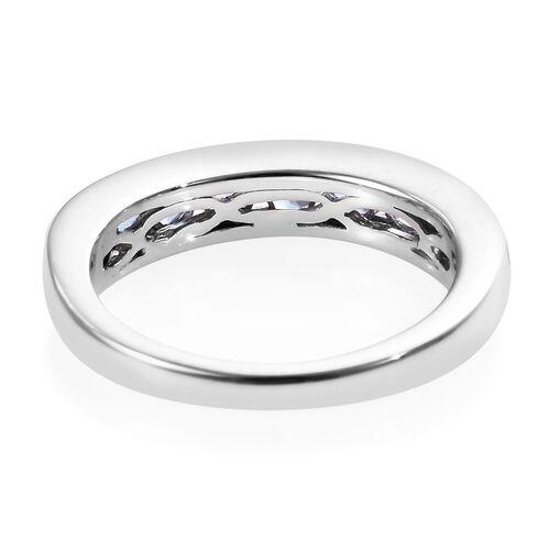 9K White Gold AA Tanzanite (Rnd) Half Eternity Band Ring 1.15 Ct.