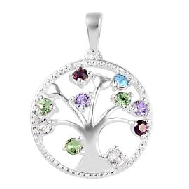 J Francis - Crystal From Swarovski Multi Gemstone Crystal (Rnd) Tree of Life Pendant in Sterling Sil