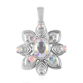 Mercury Mystic Topaz Floral Pendant in Platinum Overlay Sterling Silver 2.50 Ct.