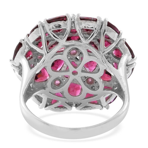 Cocktail Collection-Rhodolite Garnet (Trl) Floral Ring in Rhodium Plated Sterling Silver 13.750 Ct. Silver wt 6.80 Gms.