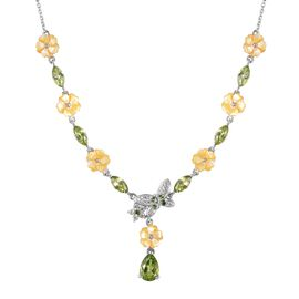 Jardin Collection - Yellow Mother of Pearl, Hebei Peridot, Russian Diopside and Natural White Cambod