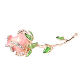 White Austrian Crystal Rose Brooch in Gold Tone