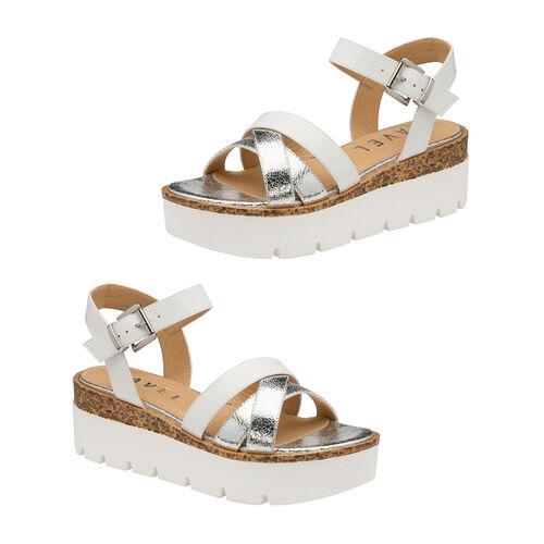 Ravel Monto Flatform Sandals (Size 4) - White/Silver