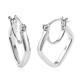 Designer Inspired 9K White Gold Hoop Earrings.Gold Wt 4.00 Gms