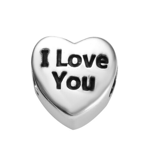 Charmes De Memoire I Love You Heart Charm in Platinum Plated Sterling Silver