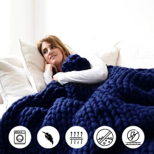 100% Cotton Filled Thick Rope in Dark Blue (760cm)