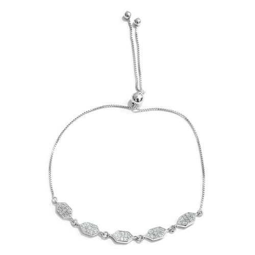 Diamond 0.28 Ct Honeycomb Adjustable Bracelet in Platinum Gold Overlay Sterling Silver (Size 6.5 to 8.5)