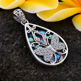 Bali Legacy Collection - Natural Cambodian Zircon and Abalone Shell Butterfly Pendant in Sterling Silver 1.50 Ct, Silver wt 5.00 Gms