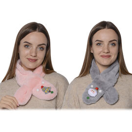 Set of 2 - 3D Xmas Hat and Snowman Pattern Kids Faux Fur Scarf (10x80cm) - Pink and Grey