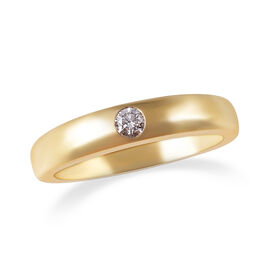 ILIANA Diamond Flush Set Solitaire Band Ring in 18K Yellow Gold 5 Grams IGI Certified SI GH