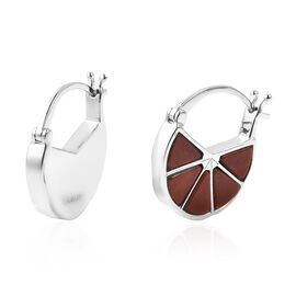 Isabella Liu Dance of Ginkgo - Red Jade Hoop Earrings (with Clasp) in Rhodium Overlay Sterling Silve