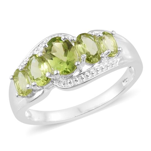 Hebei Peridot (Ovl) 5 Stone Ring in Sterling Silver 2.250 Ct. Silver wt 3.22 Gms.