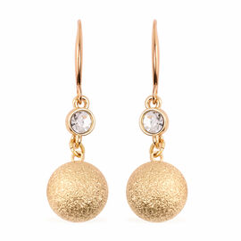 White Austrian Crystal Ball Drop Hook Earrings in Yellow Gold Tone