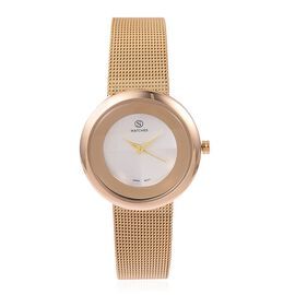 STRADA Japanese Movement Double Sunshine Dial Water Resistant Watch in Gold Tone with Mesh Chain Strap