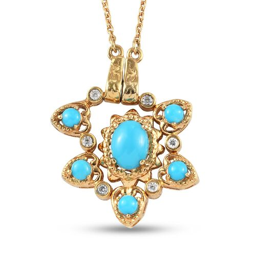 Arizona Sleeping Beauty Turquoise and Natural Cambodian Zircon Necklace (Size 18) in 14K Gold Overlay Sterling Silver 2.30 Ct., Silver wt. 7.70 Gms