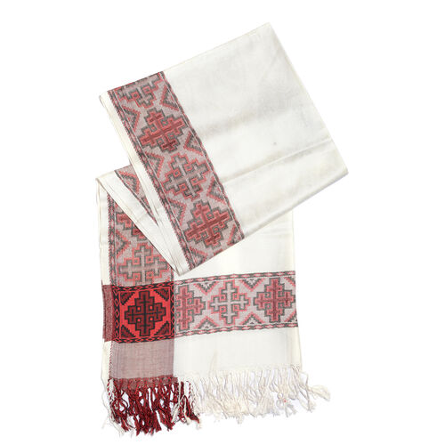 White, Red and Black Colour Jacquard Scarf with Fringes (Size 200x70 Cm)