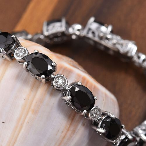 Elite Shungite (Ovl), Natural Cambodian Zircon Bracelet (Size 8) in Platinum Overlay Sterling Silver 11.250 Ct., Silver wt. 14.27 Gms