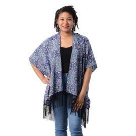 Printed Kimono with Tassel in Blue (Size 90x70+15cm)