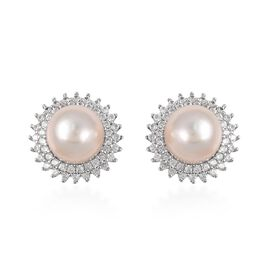 Extremely Rare Size White South Sea Pearl (Rnd 10-10.5mm), Natural  Cambodian Zircon Earrings (with Push Back) in Rhodium Overlay Sterling Silver