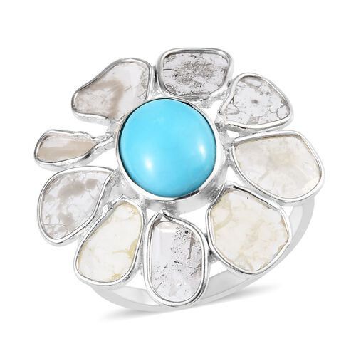 2.55 Ct. Arizona Sleeping Beauty Turquoise and Polki Diamond Floral Ring in Platinum Plated Silver