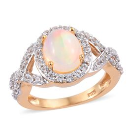 2.29 Ct Wegeltena Ethiopian Welo Opal and Zircon Halo Ring in Gold Plated Sterling Silver