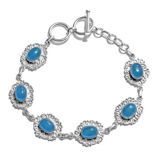 Blue Jade (Ovl) Bracelet (Size 7.5) in Rhodium Plated Sterling Silver 10.000 Ct. Silver wt. 10.30 Gms.