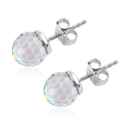 J Francis - Crystal from Swarovski - Vitrail Medium Crystal (Disco Ball) Stud Earrings (with Push Back) in Platinum Overlay Sterling Silver