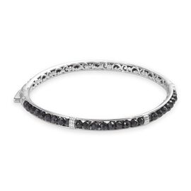 Boi Ploi Black Spinel Bangle (Size 8) in Platinum Plated 24.25 Ct.