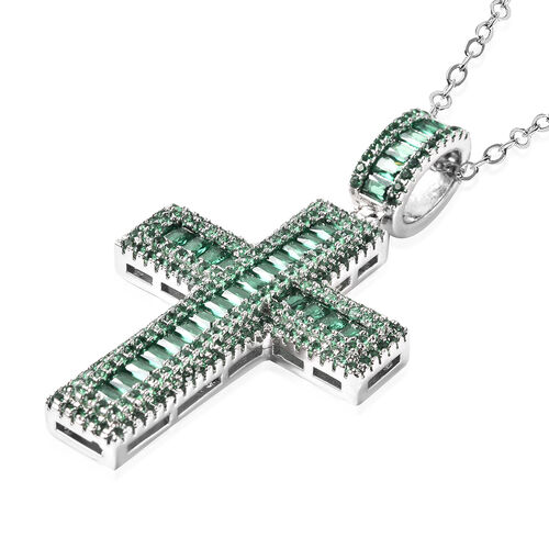 Simulated Emerald Cross Pendant with Chain (Size 20 with 2 inch Extender) in Silver Tone