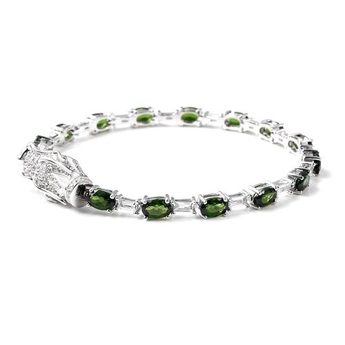 Russian Diopside (Ovl), White Topaz  Dragon Head Bracelet (Size 7) in Rhodium Overlay Sterling Silver 9.02 Ct, Silver wt 10.00 Gms