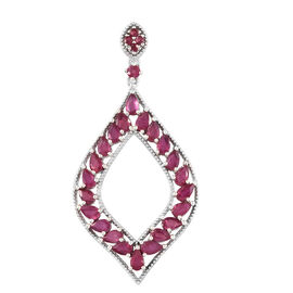 African Ruby (Pear 6.50 Ct) Pendant in Platinum Overlay Sterling Silver 6.750  Ct, Silver wt 5.47 Gms.