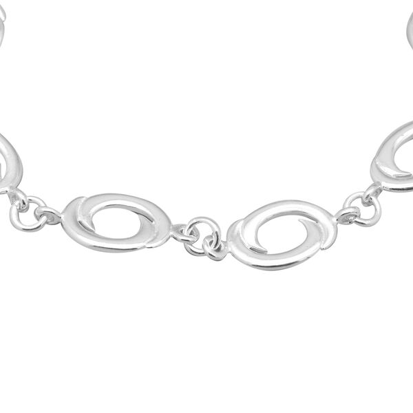 Sterling Silver Oval Swirl Link Bracelet (Size 7.5), Silver wt 8.90 Gms