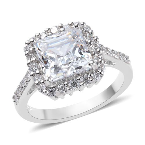 J Francis Made with SWAROVSKI ZIRCONIA Halo Ring in Platinum Plated Silver