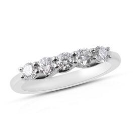 RHAPSODY 0.50 Ct Diamond 5 Stone Ring in 950 Platinum 4 Grams IGI Certified VS EF
