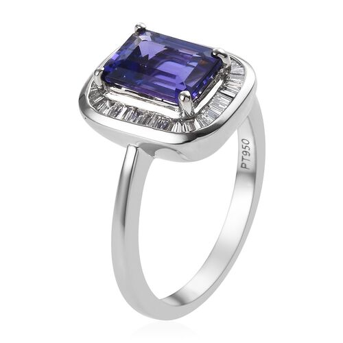RHAPSODY 950 Platinum AAAA Tanzanite (Oct 8x6 mm), Diamond (VS/E-F) Ring 1.65 Ct.