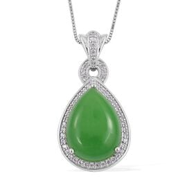 Green Jade (Pear 10.50 Ct), Natural White Cambodian Zircon Drop Pendant with Chain in Rhodium Plated Sterling Silver 10.840 Ct.