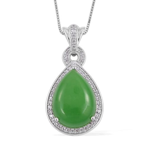 Green Jade (Pear 10.50 Ct), Natural White Cambodian Zircon Drop Pendant with Chain in Rhodium Plated