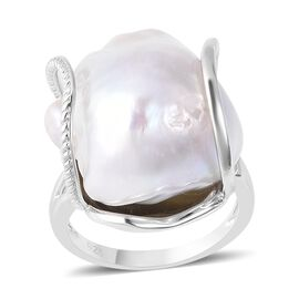 Extremely Rare Size Baroque Pearl (30x18 mm) Adjustable Ring in Rhodium Overlay Sterling Silver
