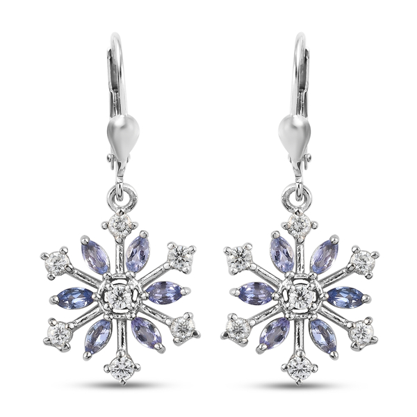 Tanzanite (Mrq), Natural Cambodian Zircon Snowflake Lever Back Earrings in Platinum Overlay Silver 1
