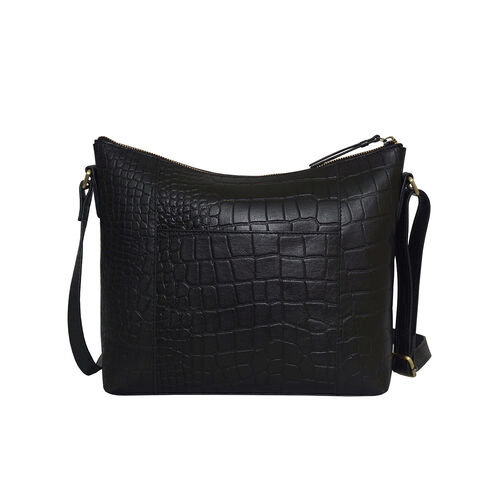 Assots London OLGA Croc Embossed Genuine Leather Crossbody Bag with Zipper Closure and Adjustable Strap (Size 30x9.5x26 Cm) - Black
