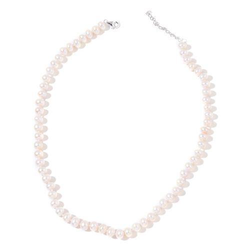9K White Gold AAA Fresh Water White Pearl (8-9 mm) Necklace (Size 18 with 2 inch Extender)