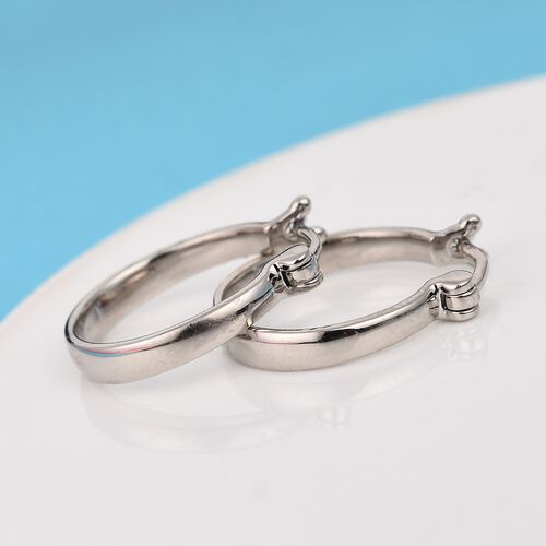 RHAPSODY 950 Platinum Hoop Earrings with French Clip, Platinum wt. 6.00  Gms
