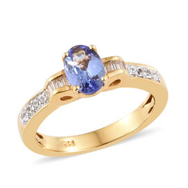 1 Carat Tanzanite and Zircon Solitaire Design Ring in Gold Plated Sterling Silver